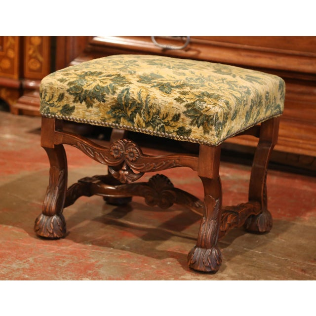 Green 19th Century French Louis XIII Carved Walnut Stool From the Perigord For Sale - Image 8 of 8