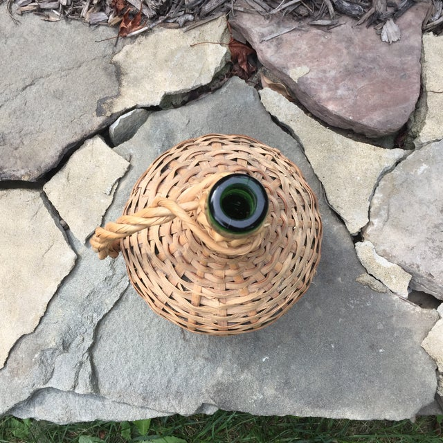 Vintage Rattan Wicker Wrapped Green Glass Jug For Sale - Image 4 of 11