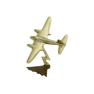 Vintage Art Deco Brass Airplane Desk Ornament For Sale