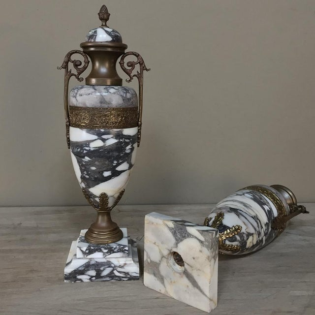 Mantel Urns/Cassolettes, 19th Century French Marble & Bronze - a Pair For Sale - Image 11 of 12