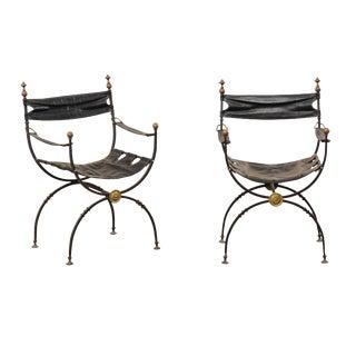 Early 20th CenturyCurule Savonarola Italian Black Leather Chairs- a Pair For Sale