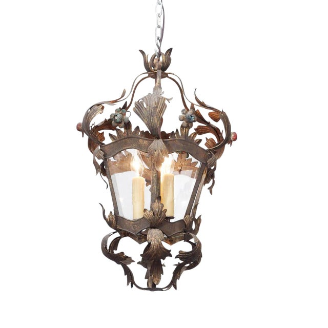 Italian Tole Lantern with Acanthus Leaves and Flowers For Sale