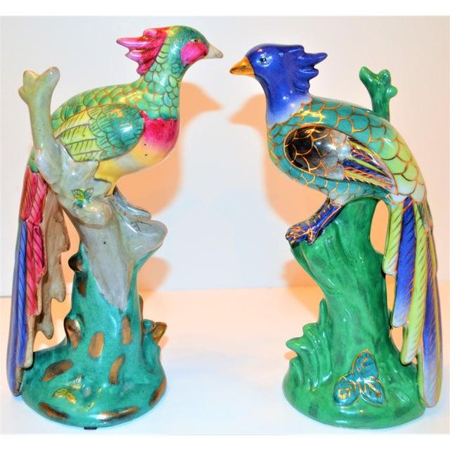Ceramic (Final Markdown) 1970s Vintage Majolica Parakeet & Pheonix Figurines - Set of 3 For Sale - Image 7 of 12