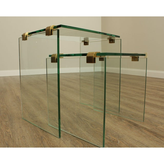 Mid Century Modern Floating Glass & Brass Set 2 Nesting Tables For Sale - Image 10 of 13
