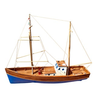 Vintage Amalfi Palermo Italian Wooden Fishing Boat For Sale