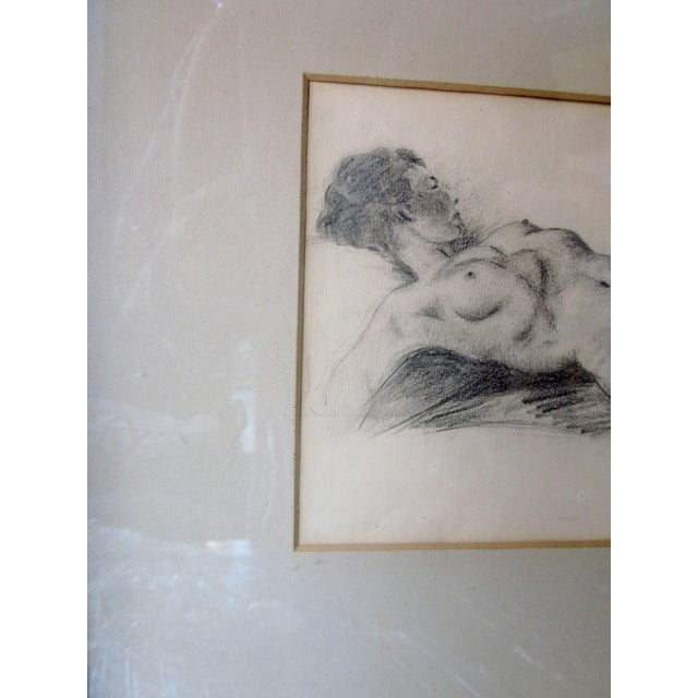 Vintage 1930s Art Deco Nude Portrait Life Figure Pencil Drawing Signed and Framed For Sale - Image 4 of 11