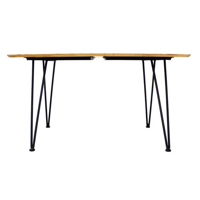 Cherry Wood Mid Century Modern Dinette Dining Table with Four Chairs in Iron and Wood For Sale - Image 7 of 10