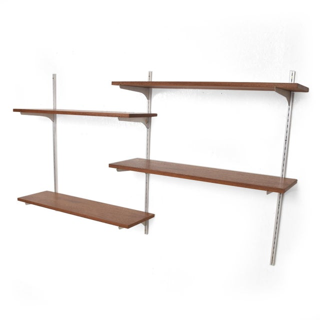 Mid-Century Modern Teak & Aluminum Wall Unit Shelving For Sale - Image 10 of 10