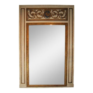 18th C. Carved Painted Trumeau Mirror
