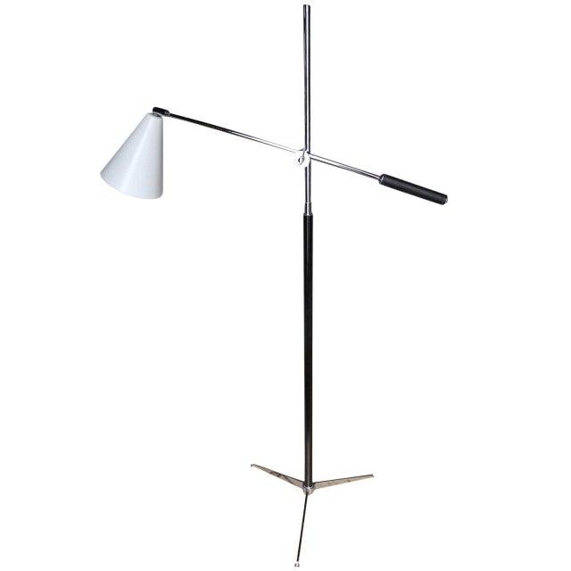 Silver 1960s Italian Modern One-Arm Floor Lamp for Arredoluce For Sale - Image 8 of 8