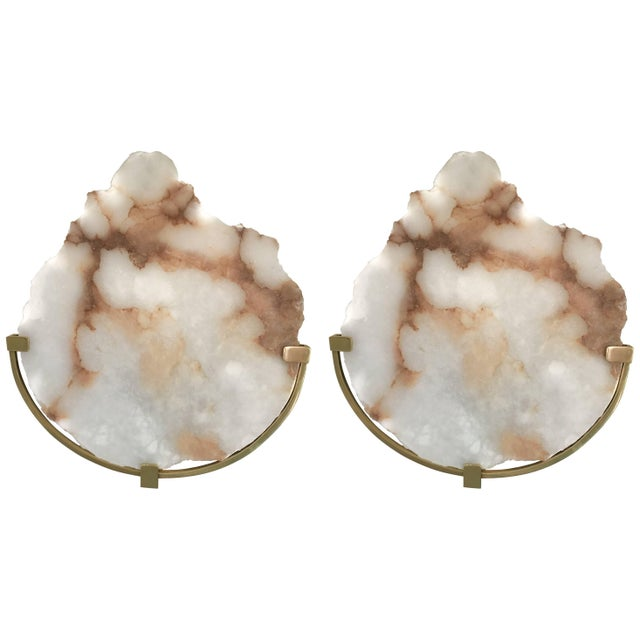 Contemporary Pair of Sconces Alabaster and Brass. Italy, 2017 For Sale - Image 13 of 13