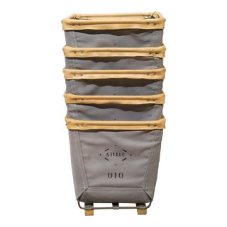 Canvas Square Basket With Leather Trim by Steele For Sale