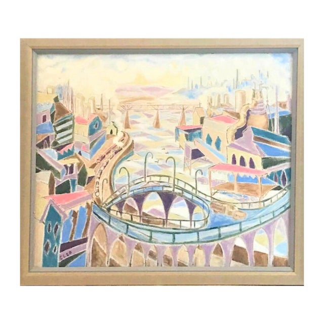 Mid-Century Modern Vintage Mid-Century Modern Aerial Views Philadelphia Riverfront Neighborhoods Signed Framed Triptych Painting For Sale - Image 3 of 13