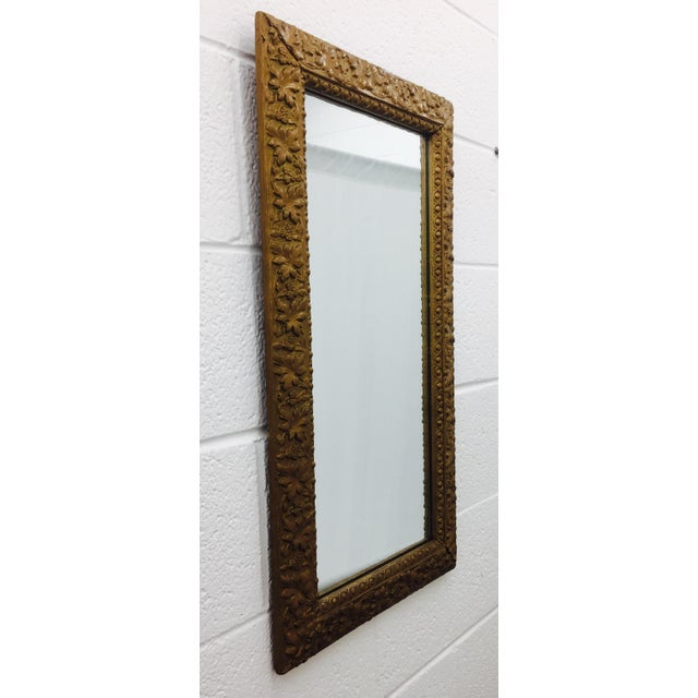 Italian Antique Gold Giltwood & Gesso Mirror For Sale - Image 3 of 9