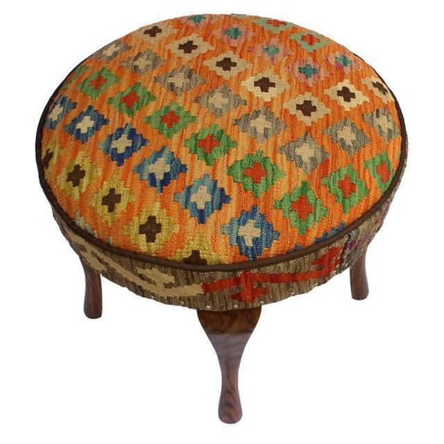 Asian Arshs Crissy Orange/Blue Kilim Upholstered Handmade Ottoman For Sale - Image 3 of 8