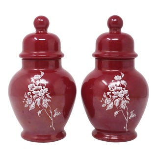 Vintage Cinnamon Glass Floral Ginger Jars - a Pair For Sale