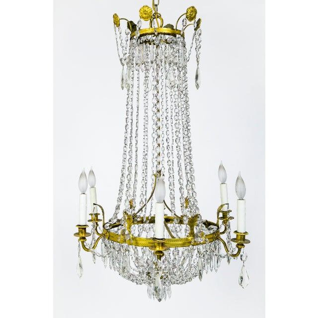 1920s Regency Tent and Bag Crystal Brass Chandelier For Sale - Image 11 of 11