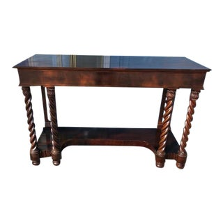 Late 19th Century Mahogany American Console Table with Twist Legs For Sale