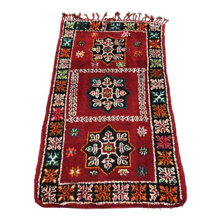 Early 20th Century Antique Handmade Moroccan Rug - 3′5″ × 5′7″ For Sale