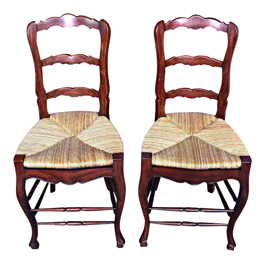 French Country Rush Seat Counter Chairs A Pair Chairish