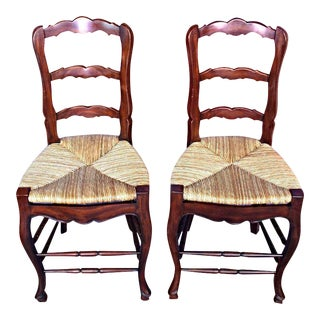 French Country Rush Seat Counter Chairs - A Pair