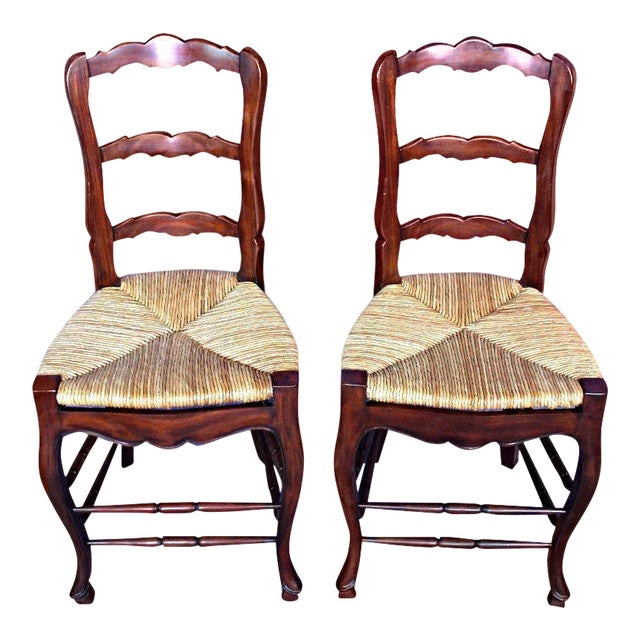 French Country Rush Seat Counter Chairs - A Pair - Image 1 of 8