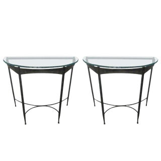 Wrought Iron and Glass-Top Demilune Console Tables For Sale