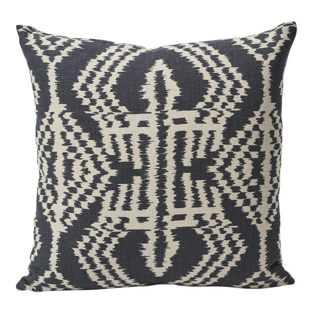 Textile Schumacher Asaka Ikat Linen Print Double-Sided Pillow For Sale - Image 7 of 9