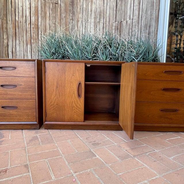 Henredon 'Circa 60' Walnut Cabinets - Set of 3 For Sale - Image 9 of 13