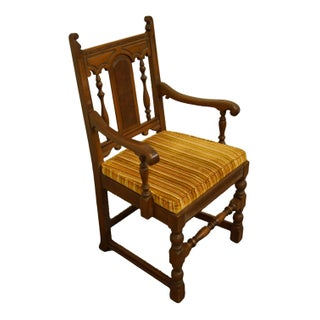 Late 20th Century Vintage Mount Airy English Revival Jacobean Style Walnut Dining Arm Chair Preview
