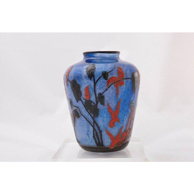 French 1925 Marcel Goupy Enameled Glass Vase With Three Nude Women For Sale - Image 3 of 10