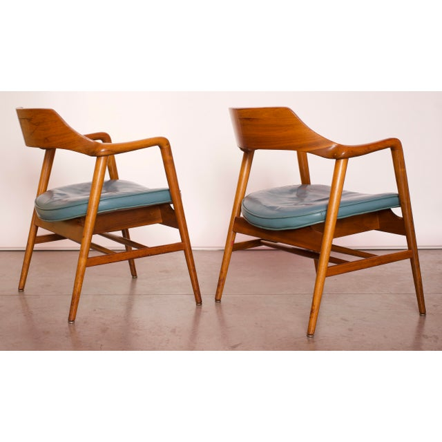 Brown 1960s Vintage Gunlocke Co. Walnut Armchairs - a Pair For Sale - Image 8 of 12