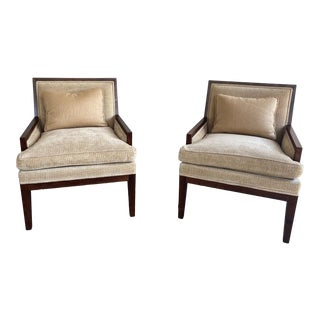 Designer Mattaliano Walnut and Beige Armchairs - a Pair For Sale