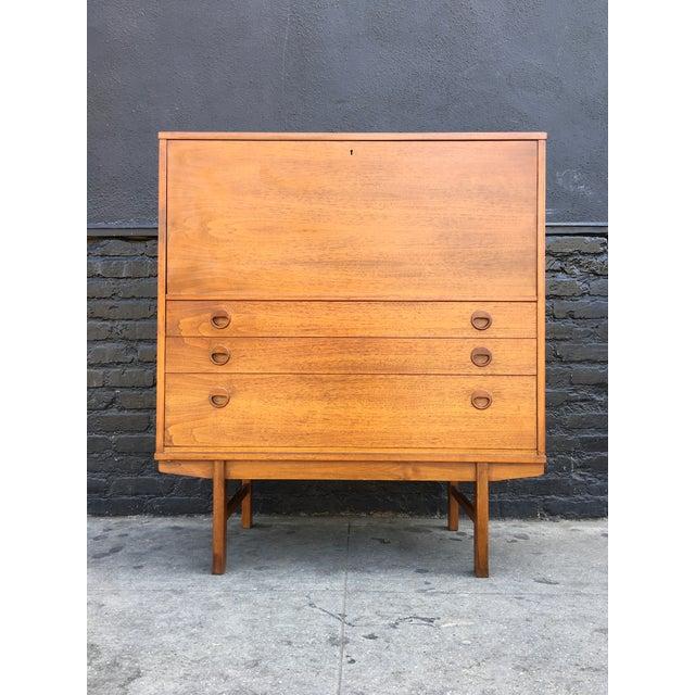 Swedish Modern Teak Wood Secretary Desk - Image 3 of 9