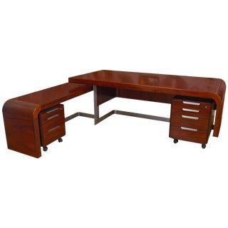 Stunning Modern Custom Rosewood Executive Desk Suite
