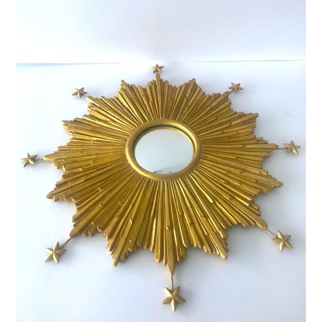 Glass Exquisite Starburst Mirror With Antique Gold Leaf Finish For Sale - Image 7 of 13