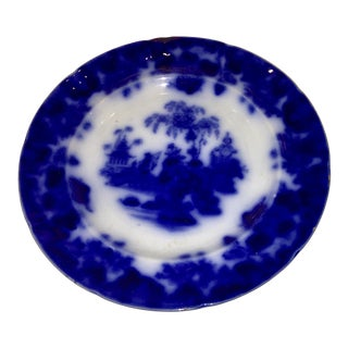1950s Vintage Blue & White Porcelain Plate by Alcock For Sale