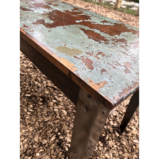 Industrial Distressed Wood Table With Metal Legs For Sale - Image 11 of 13