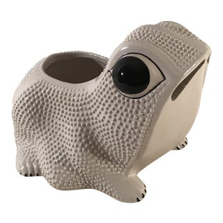 Mid-Century Italian Ceramic Frog Planter For Sale