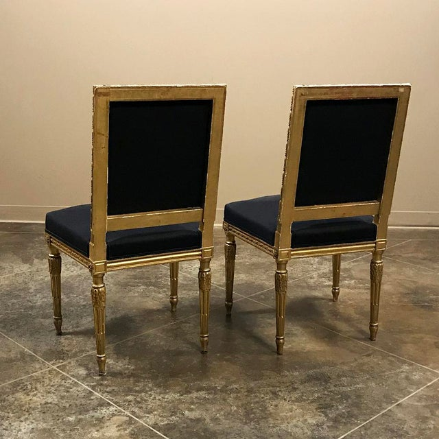 19th Century French Louis XVI Giltwood Chairs - a Pair For Sale - Image 11 of 13