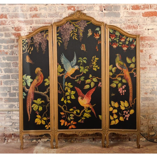 French Three-Panel Parrot Motif Screen - Image 2 of 11