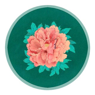 Italian Green Salina Peonie Round Placemat For Sale