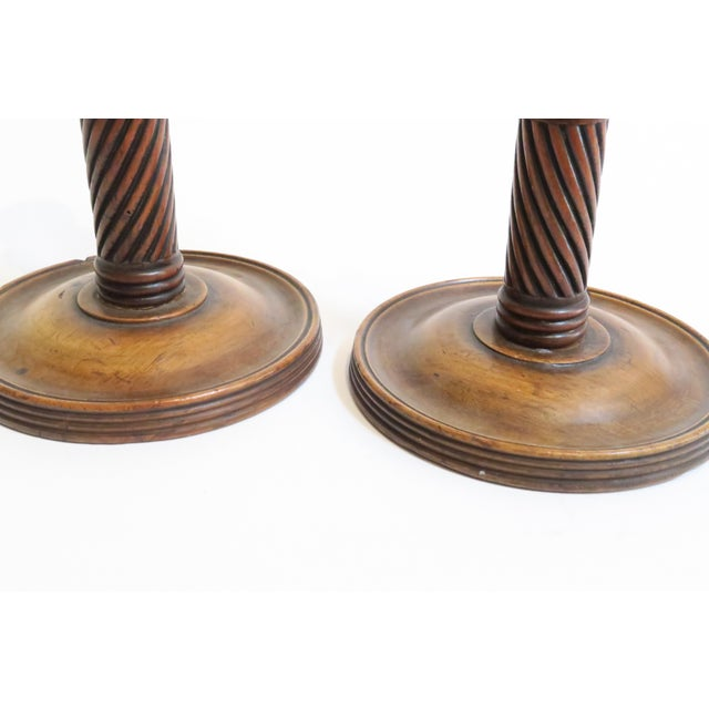 Carved Wood Candle Holders - A Pair - Image 4 of 6