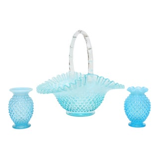 Vintage French Blue Milk Glass Basket and Vase - Set of 3 For Sale