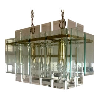 Brass and Glass Chandelier in the Style of Curtis Jere For Sale