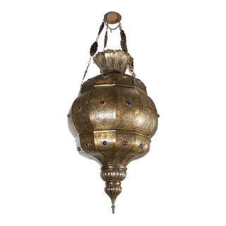 Vintage Moroccan Moorish Brass Chandelier, Alberto Pinto Style For Sale