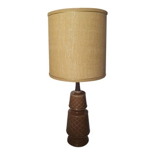 Mid-Century Modern Glazed Brown Ceramic Pottery Lamp & Drum Shade