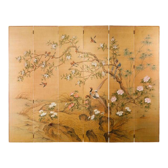 Sung Tze-Chin Large Chinoiserie Hanging Screen Ink on Silk Birds and Flowers Scene 9 Feet Wide by 7 Feet Height For Sale