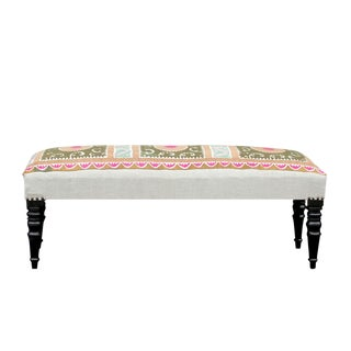 Antique Floral Suzani Bench