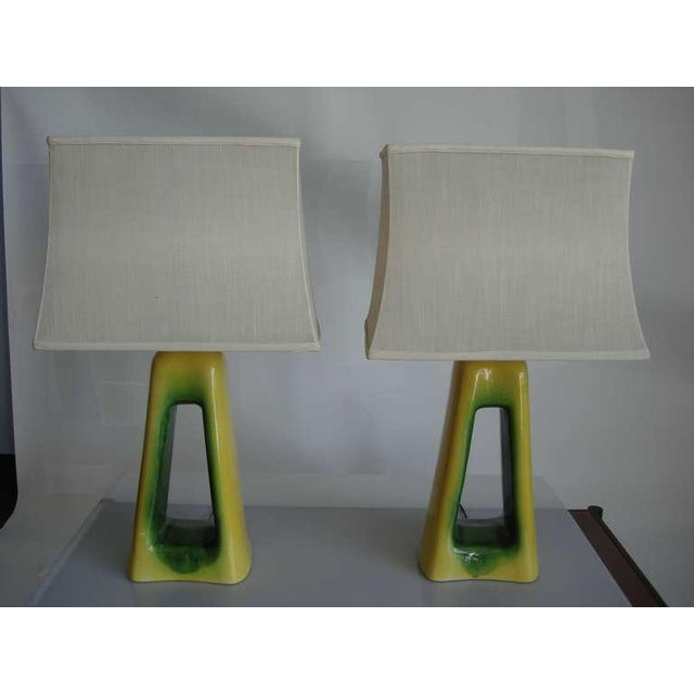 Mid-Century Modern Pair of Oversized Mid-Century Ceramic Lamps For Sale - Image 3 of 6